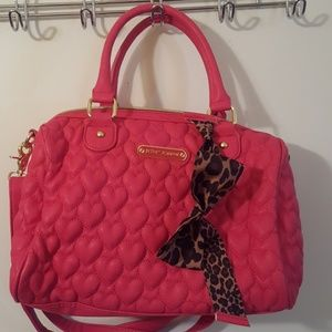 Pink heart Betsey Johnson Purse with leopard bow